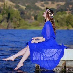 SILK GOWN dress royal blue pure silk ruffles long